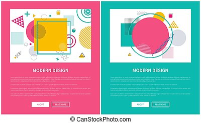 Modern Design of Web Posters with Buttons Vector