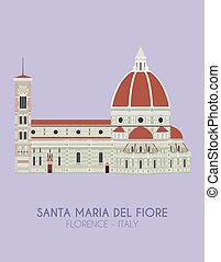 Modern design poster with colorful background of Santa Maria...