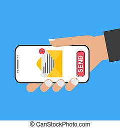 Modern design style hand holding the smartphone with e-mail screen - send it!