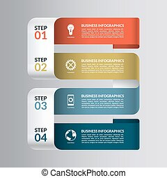 Modern design template for infographics. Numbered banner  with 4 steps, parts, options