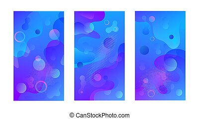 Modern design template with liquid background for paper design. Vector gradient abstract brochure. Abstract blue liquid background. Set of minimal cover templates. Modern gradient shapes composition.