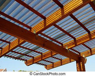 Modern design wooden pergola on a terrace