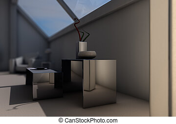 modern designed room in the evening