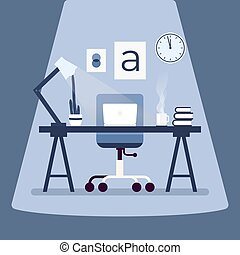 Modern designer workplace with laptop on the table. Working place concept flat design.