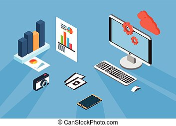 Modern Desktop Computer ], Cell Smart Phone With Financial Paper Graph Document 3d Isometric