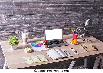 Modern desktop sideview - Closeup of modern creative desktop...
