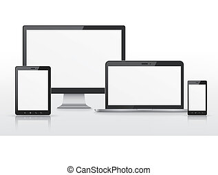 device set that includes TV, tablet, smart phone and laptop over white background