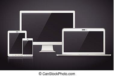 modern device set over black background - device set that...