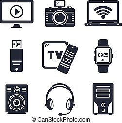 Modern devices and electronic gadgets icons