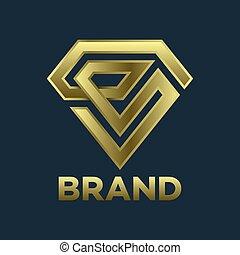 Modern diamond and letter E logo