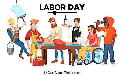 modern, difference., emberek, jobs., elszigetelt, ábra, munka, vector., karikatúra, nap, foglalkozás