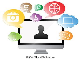 modern, digitális, monitor, képben látható, színes, háttér