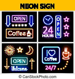 Modern Digital Advertising Neon Signs Concept