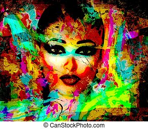Modern digital art image - Abstract Close Up Face of A...