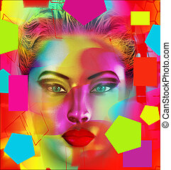 Modern digital art image of a woman