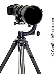 Modern Digital Camera With Super Telephoto Zoom Lens on White