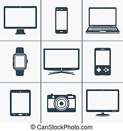 Modern digital devices icons set