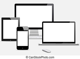 Modern Digital devices on grey background