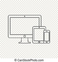 Modern digital devices thin line icon on transparent background