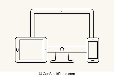 Modern digital devices thin line icon