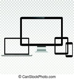 Modern digital devices with transparent screen mockup