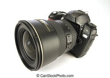 modern, digital kamera, freigestellt, auf, w