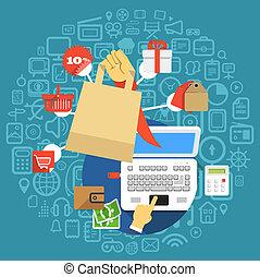 Modern digital shopping. Design concept