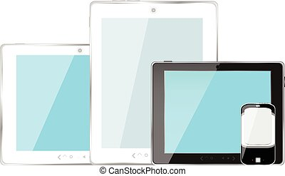 Modern digital tablet PC with mobile smartphone isolated on white vector illustration