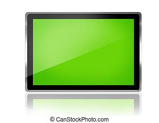 digital tablet - Modern digital tablet withgreen screen
