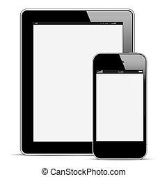 modern, digital tablette, pc, mit, beweglich, smartphone
