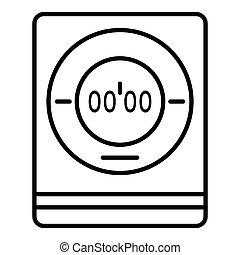 Modern digital timer icon, outline style