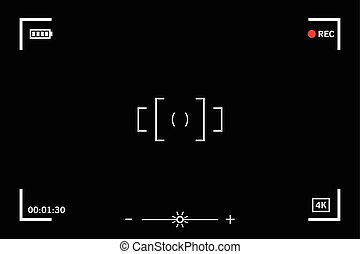 Modern digital video camera focusing screen isolated on...