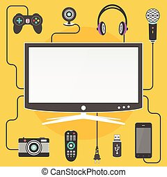 Modern digytal devices connected to a Smart TV