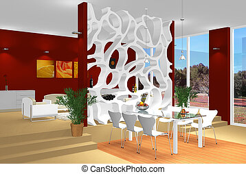 modern dining and living room - rendering of a modern...