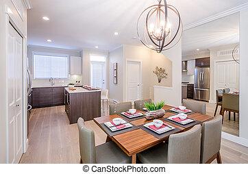Modern dining room interior.
