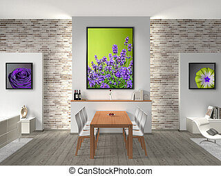modern dining room Interior - FICTITIOUS interior of a...