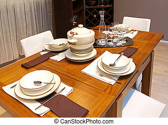 Modern dinning table - Modern wooden arranged dinning table...