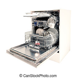 Modern dishwasher open, filled with dishes and cutlery, isolated on white background