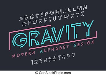Modern display font design, alphabet, character set, typography