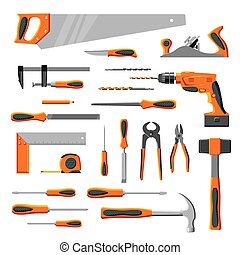 Modern DIY carpenter hand tools vector collection isolated on white