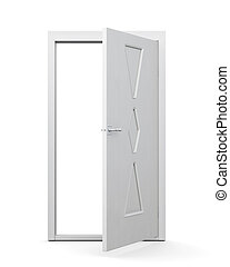 Modern door on a white background. 3d render image