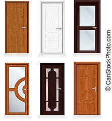 Classic interior and front wooden iterior doors, front doors