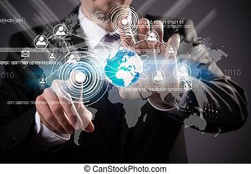 modern, drahtlose technologie, und, sozial, medien