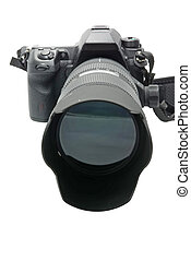 Modern DSLR camera with zoom lens attached on white