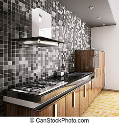 Modern ebony wood kitchen with sink, gas cooktop and hood interior 3d
