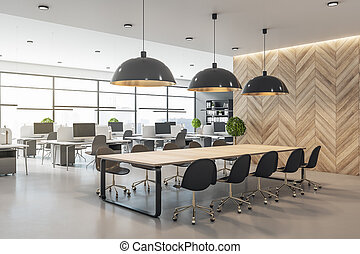 Modern eco style interior in open space office with big windows, wooden wall and conference table and concrete floor
