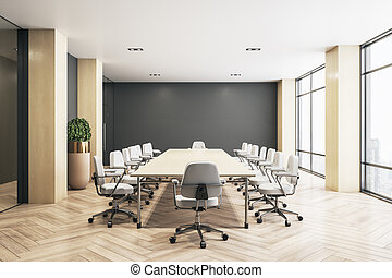 Modern eco style meeting room with big wooden table, white chairs around, parquet and big windows with city view