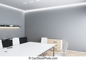 Modern eco style meeting room with blank grey wall, white furniture and wooden floor. 3D rendering