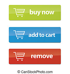 Modern Ecommerce Buttons - Set of clean, modern ecommerce...