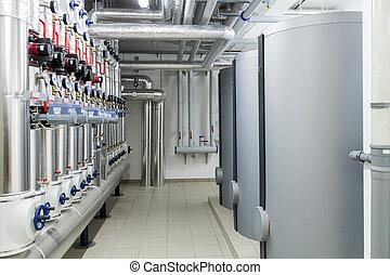 Modern efficient heating system. - Heating stove. Modern...